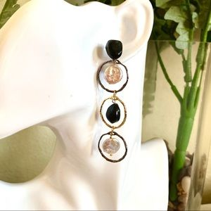Handmade Black and White Mismatched Stud Earrings